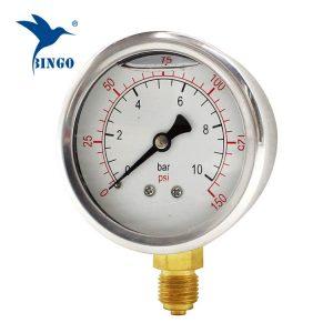 60mm roestvrijstalen behuizing messing aansluiting bodemtype manometer 150PSI olie gevulde manometer